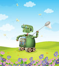 Robot and kids Royalty Free Stock Images