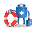 Robot with lifebuoy Stock Photography