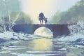 Robot and little girl standing on bridge in winter