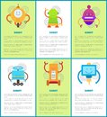 Robot Machines Collection, Vector Illustrations Royalty Free Stock Photo