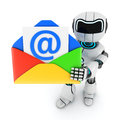 Robot and mail on white background done in d Stock Photo
