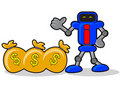 Robot and money Stock Photos