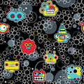 Robot and monsters with bubbles seamless pattern vector texture Royalty Free Stock Photography