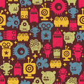 Robot and monsters cute seamless pattern Royalty Free Stock Photography