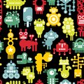 Robot and monsters cute seamless texture.