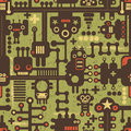 Robot and monsters seamless pattern on green vector cool texture Stock Photos
