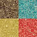 Robot and monsters seamless patterns.
