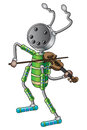 The robot musician plays violin vector illustration Royalty Free Stock Image