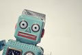 Robot portrait of a vintage tin toy Royalty Free Stock Images