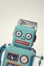 Robot portrait of a vintage tin toy Stock Photography