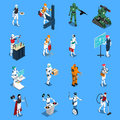 Robot Professions Isometric Set