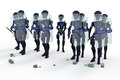 Robot riot police a squad of several in protective gear against a white background Stock Photography