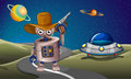 A robot at the road with a spaceship in the outerspace illustration of Royalty Free Stock Image