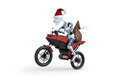 Robot with Santa Hat Riding Motorcycle Royalty Free Stock Images