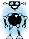 Robot Silhouette Cartoon Outline Blue Stock Photos
