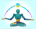 The robot sits in a lotus pose