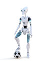 Robot with soccer ball against a white background Stock Photo