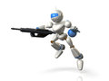 Robot soldiers to assault with a rifle this is computer generated image on white background Stock Photo