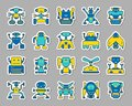 Robot patch sticker icons vector set Royalty Free Stock Photo