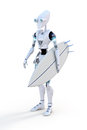 Robot surfer d render of a holding a surfboard against a white background Royalty Free Stock Image