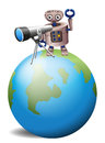 A robot with a telescope above a globe illustration of on white background Royalty Free Stock Images