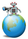 A robot with a telescope above the planet earth illustration of on white background Stock Photos