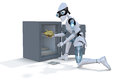 Robot thief d render of a stealing a gold piggy bank from a safe against a white background Stock Photo