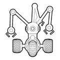 Robot with three tentacle icon outline