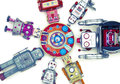 Robot toys around there mother ship Royalty Free Stock Photography