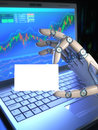 Robot trading system business card concept image of software used in the stock market the hand holding a blank your text or Stock Images