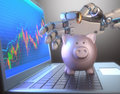 Robot trading system and piggy bank image concept of software used in the stock market that automatically submits trades to an Royalty Free Stock Photo