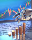 Robot trading system on the stock market d image concept of software used in that automatically submits trades to an exchange Royalty Free Stock Image