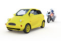 Robot traffic cop d render of a motorcycle policeman pulling over a driving a small yellow car against a white background Royalty Free Stock Image