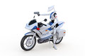 Robot traffic cop d render of a policeman on a motorcycle with a radar gun against a white background Stock Photo