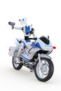 Robot traffic cop d render of a policeman on a motorcycle with a radar gun against a white background Royalty Free Stock Photo