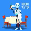 Robot Waiter Holding Tray With Drinks Vector. Isolated Illustration