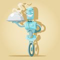 Robot waiter vector illustration of funny cute holding tray with dish Stock Photos