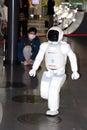 Robot walking around doing a demo at museum japan tokyo Stock Photo