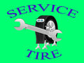 Robot wheel logo of the service center holding a wrench is engaged in installation tires on wheels Stock Image