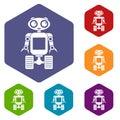 Robot on wheels icons set hexagon