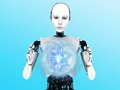 Robot woman holding plasma sphere. Royalty Free Stock Photography