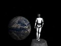 Robot woman looking at earth a standing in space Stock Images