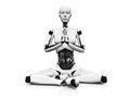 Robot woman meditating.