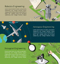 Robotic, aerospace, and biological engineering education infographic banner template layout background website page