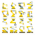 Robotic arm, hand, industrial robot flat vector icons set Royalty Free Stock Photo