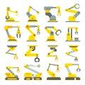 Robotic arm, hand, industrial robot flat vector icons set