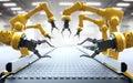 Robotic arms with conveyor belt