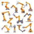 Robotic arms set. Manufacturing automation technology. Industrial robot arm machine. Factory assembly robots flat design