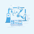 Robotic Assembly Line Industrial Automation Industry Production Web Banner