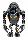 Robotic creature stylish black robot in front Royalty Free Stock Photos